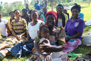 Uganda - women waiting for a meeting in the local VSLA